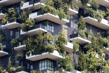 Groene futuristische wolkenkrabber, milieu en architectuur concepten