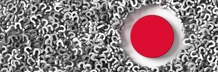 uncertain: Japan uncertain future and economy, 3d rendering background