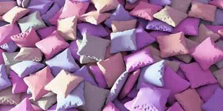 lullaby: Infinite pillows on a plane, night and sleep conceptual background. 3d rendering