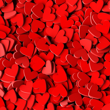Infinite hearts background: love, passion and Valentine Day theme. 3d rendering, squared banner size