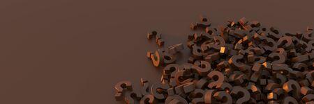 Infinite chocolate question marks, original 3d rendering