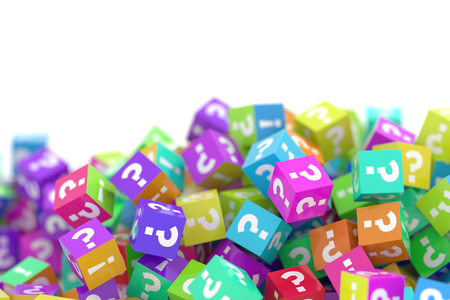 Infinite cubes with question and exclamation marks, 3d rendering