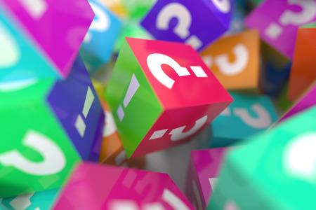 Cubes infinis avec interrogation et points d'exclamation, rendu 3D Banque d'images