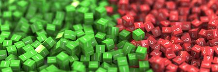 infinite question and answers cubes symbols, original 3d rendering 版權商用圖片