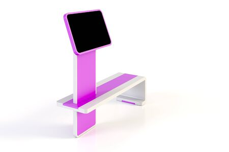 Digital display integrated in a modern design bench, original 3d rendering Stock Photo