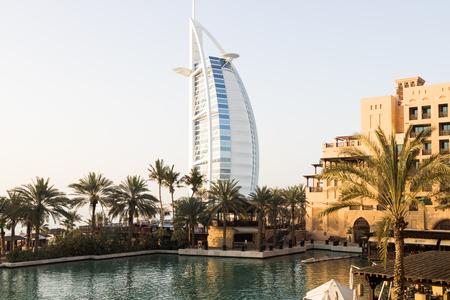DUBAI - CIRCA APRIL 2017: the iconic Burj Al Arab luxury hotel shot from Madinat area