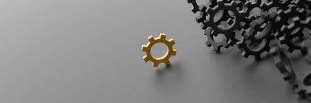 Unendliche Getriebe Hintergrund mit einem Gewinner. 3D-Rendering-Hintergrund, Teamwork und Führung Konzepte Standard-Bild - 85189675