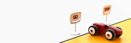 Go or stop road signs, business and human choices concepts, 3d rendering horizontal background