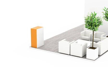 Exhibition booth blank template, originele 3D-rendering en modellen