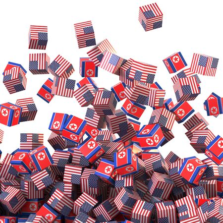 North Korea and United States political conflict, original 3d rendering conceptual illustration, original flag textures