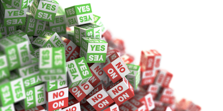 Yes and no infinite cubes, original 3d rendering, business and marketing concepts