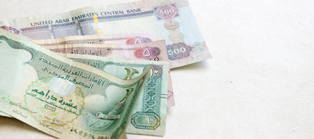 Set of UAE dirham banknotes