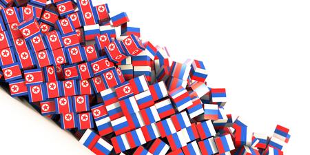 North Korea and Russia political conflict, original 3d rendering conceptual illustration, original flag textures