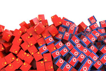 vs: North Korea and China political relationship, original 3d rendering conceptual illustration, original flag textures Stock Photo