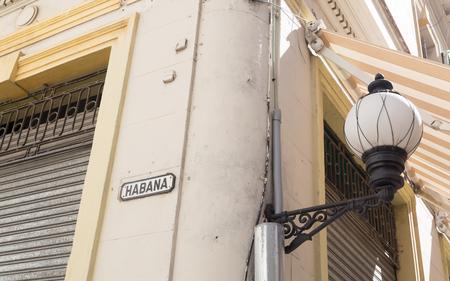 Havana, Cuba; vintage road sign in the old town, called Habana Veja
