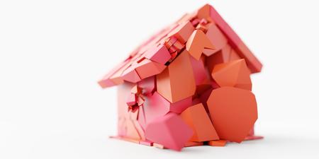 Broken home concept, original 3d rendering with horizontal banner size