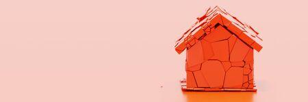Gebroken huisconcept, het originele 3d teruggeven met horizontale bannergrootte Stockfoto
