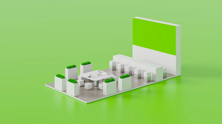 Empty white and green exhibition booth, copy space illustration, 3d rendering, retail concepts