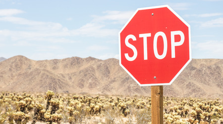 Stop sign in Joshua Tree National Park, USA