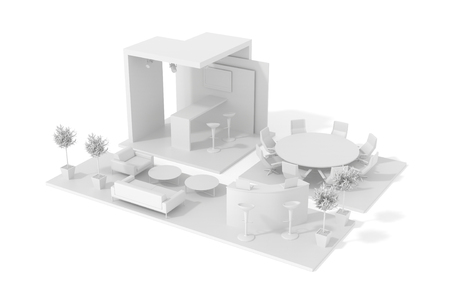 Original-Handelskiosk, isoliert auf weiß, 3D-Rendering