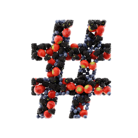 Fruits of the forest tag symbol, ultra realistic 3d rendering Stock Photo