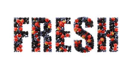 Fruits of the forest fresh text, ultra realistic 3d rendering
