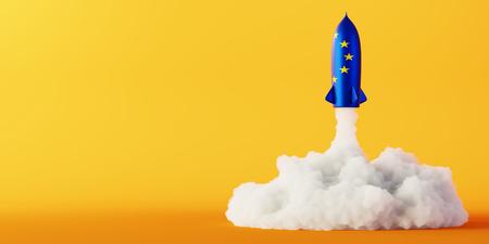 Europes space race concept, original 3d rendering Stock Photo