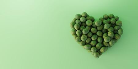 Watermelon heart shape, ultra realistic 3d rendering