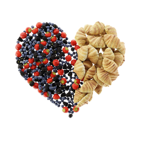 Fruits of the forest and croissants heart shape, ultra realistic 3d rendering Stock Photo