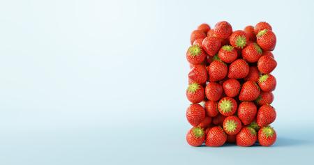 Strawberries ultra realistic background, original 3d rendering illustration Stock Photo