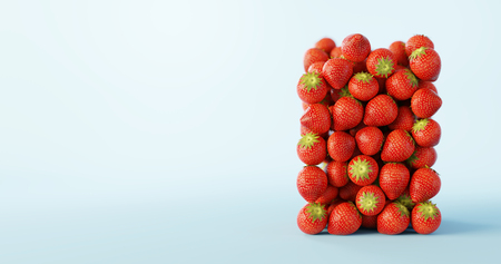 Strawberries ultra realistic background, original 3d rendering illustration 写真素材