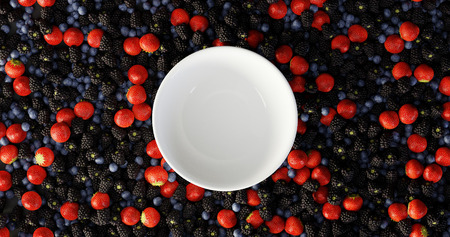 Fruits of the forest background, ultra realistic 3d rendering Standard-Bild - 120082927