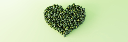 Cabbage broccoli heart shape, ultra realistic 3d rendering. Copy space horizontal background. Stock Photo