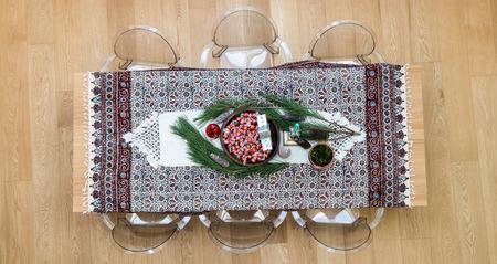 Christmas table, top shot photo