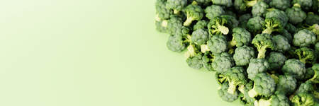 Cabbage broccoli background, ultra realistic 3d rendering. Copy space horizontal background. Stock Photo