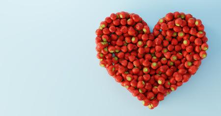 Strawberries ultra realistic heart shape, original 3d rendering illustration Stock Photo