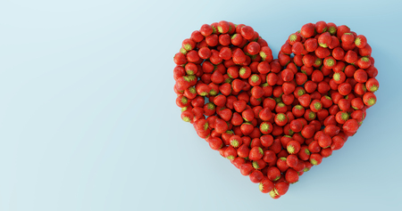 Strawberries ultra realistic heart shape, original 3d rendering illustration Standard-Bild - 120082973