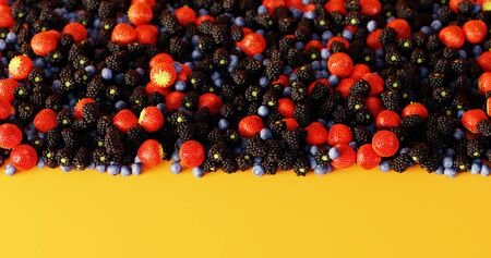 Fruits of the forest background, ultra realistic 3d rendering