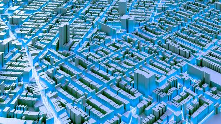Techno mega city; urban and futuristic technology concepts, original 3d rendering Stock fotó