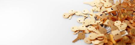 Padlock with infinite keys, metaphor of problems, solutions  and risk management; original 3d rendering 版權商用圖片