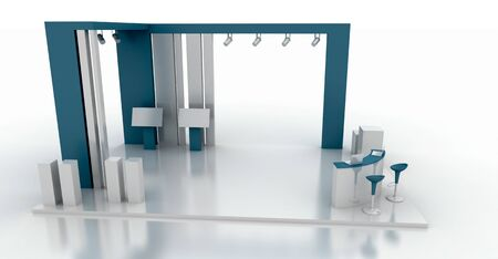 Corporate booth, blue color, isolated on white, with copy space. Original 3d rendering