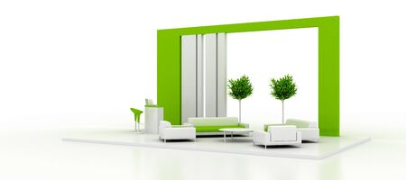 Corporate green booth, isolated on white, with copy space. Original 3d rendering
