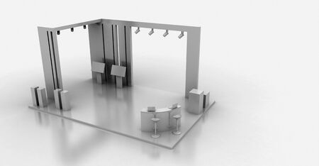 Corporate booth, isolated on white, with copy space. Original 3d rendering 版權商用圖片