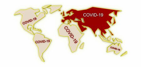 COVID-19 pandemic conceptual world map, original 3d rendering