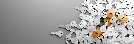 Padlock with infinite keys, metaphor of problems, solutions  and risk management; original 3d rendering Stock Photo