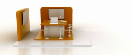 Corporate booth, orange color, isolated on white, with copy space. Original 3d rendering