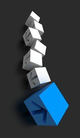 Business conceptual cubes, success and leadership theme, original 3d rendering Stock Photo