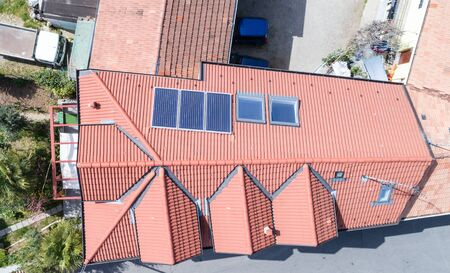 Aerial drone photo of a new roof with solar panels Stock Photo