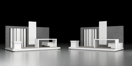 Empty exhibition booth, copy space illustration, original design 3d rendering 版權商用圖片