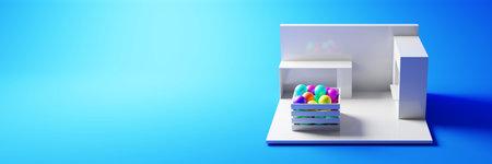 Colored pop commercial kiosk; original model and 3d rendering